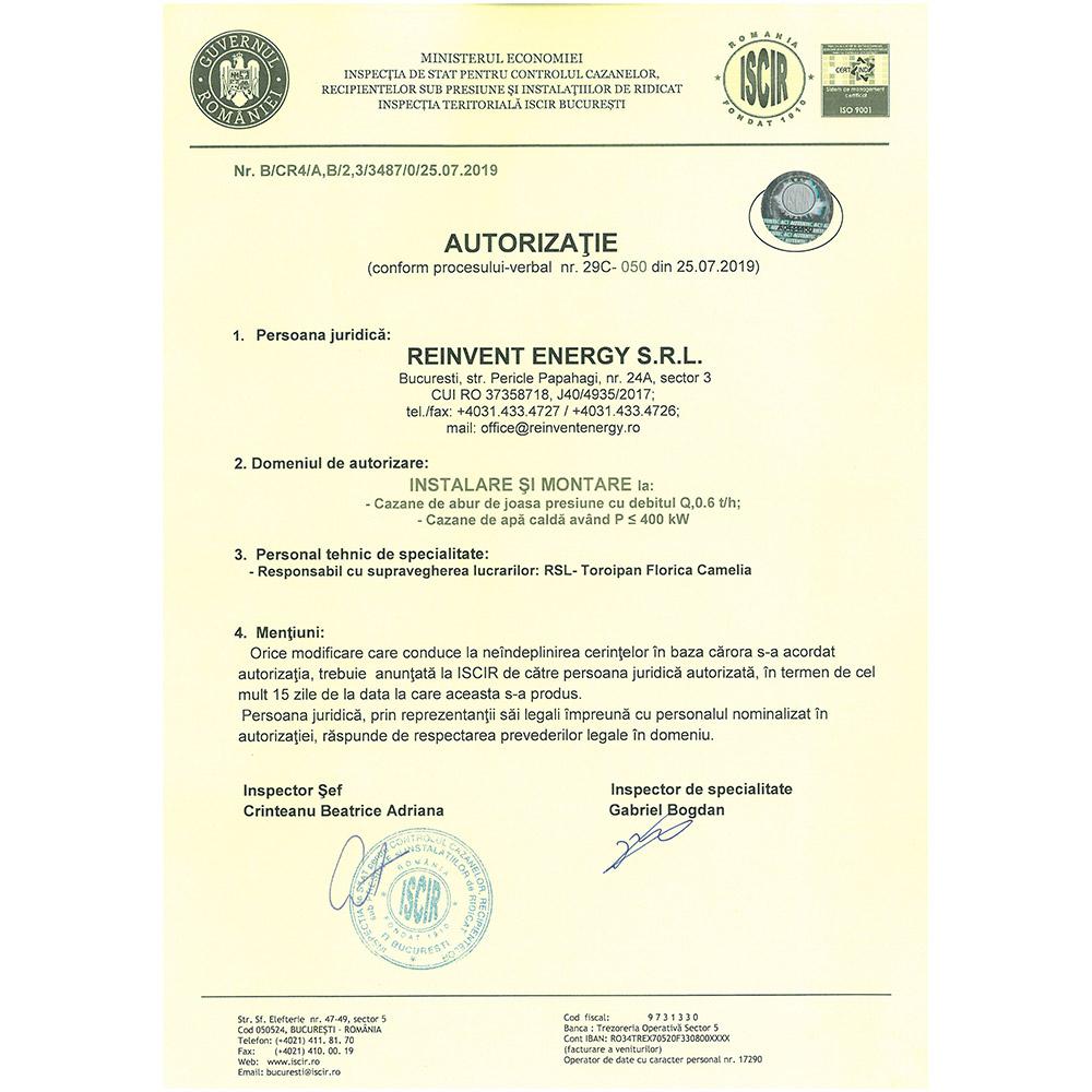 Autorizatie PT A1 emisa ISCIR