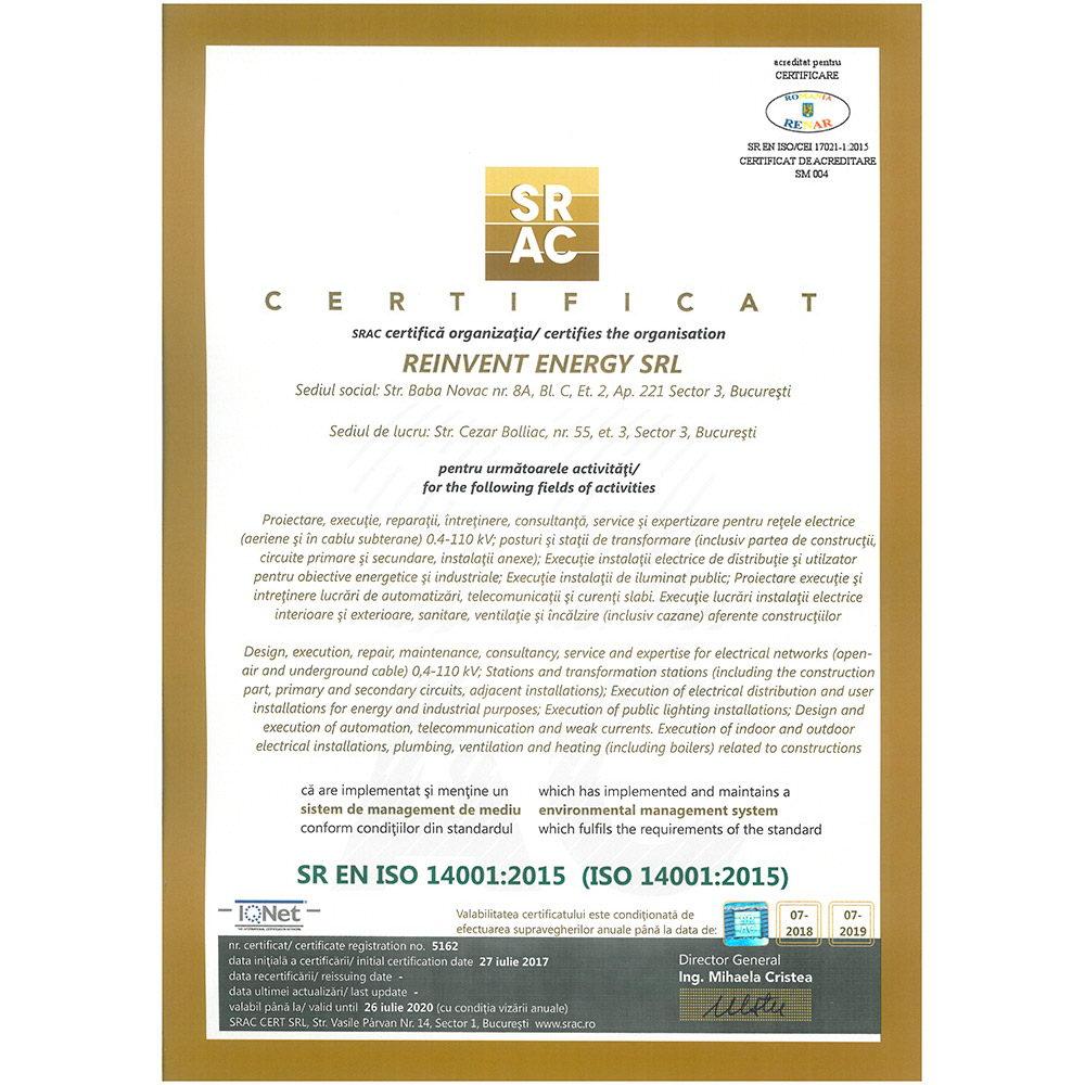 SR EN ISO 14001 2015 emis SRAC