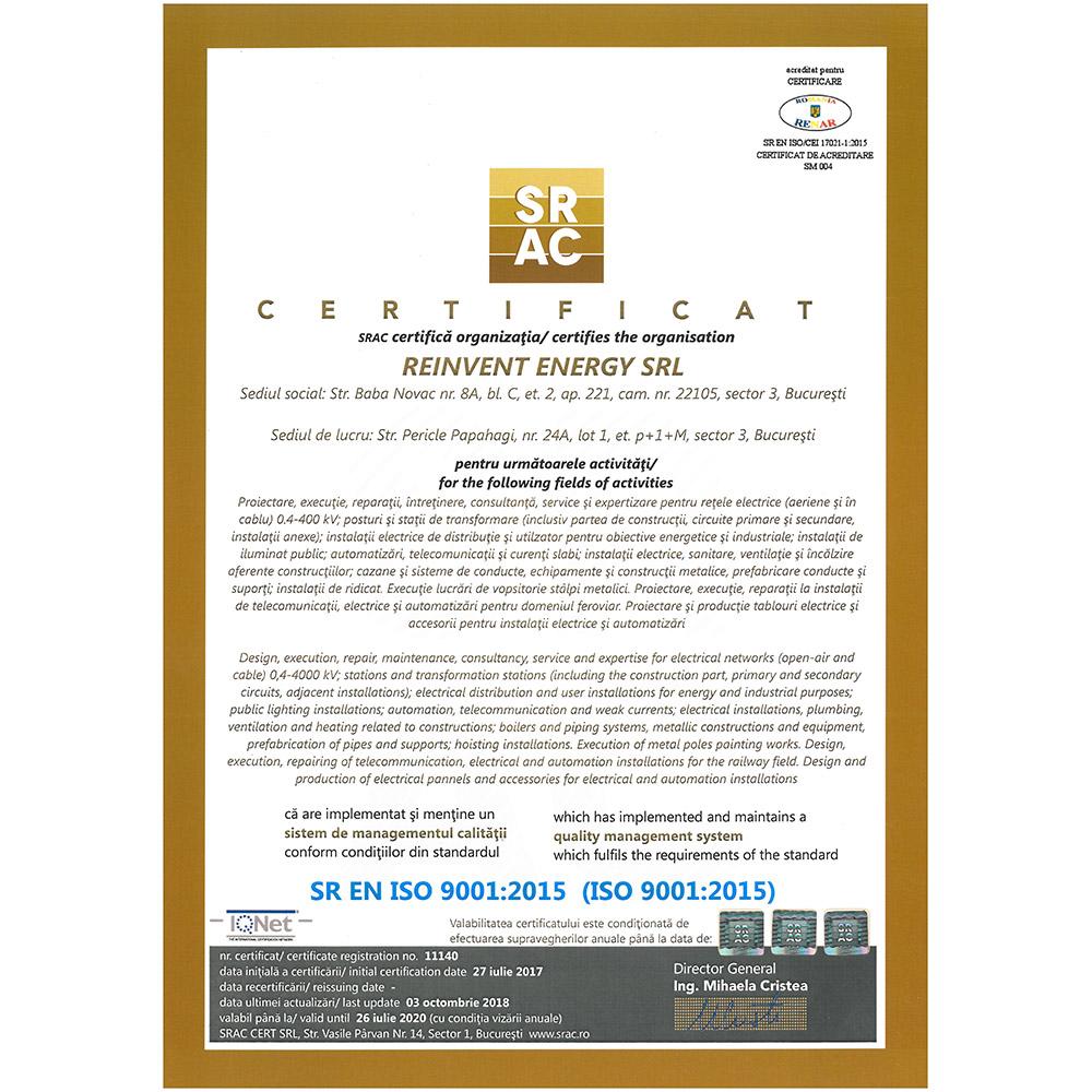 SR EN ISO 9001 2015 emis SRAC